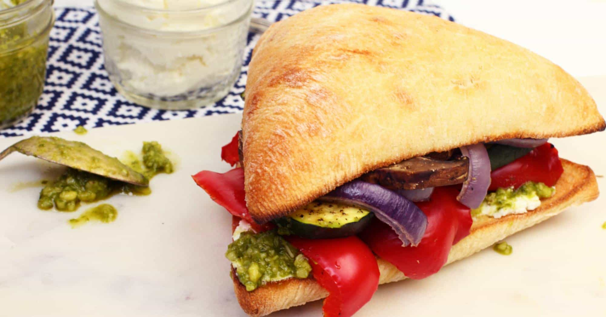 Grilled Vegetable Sandwiches with Goat Cheese & Pesto ...